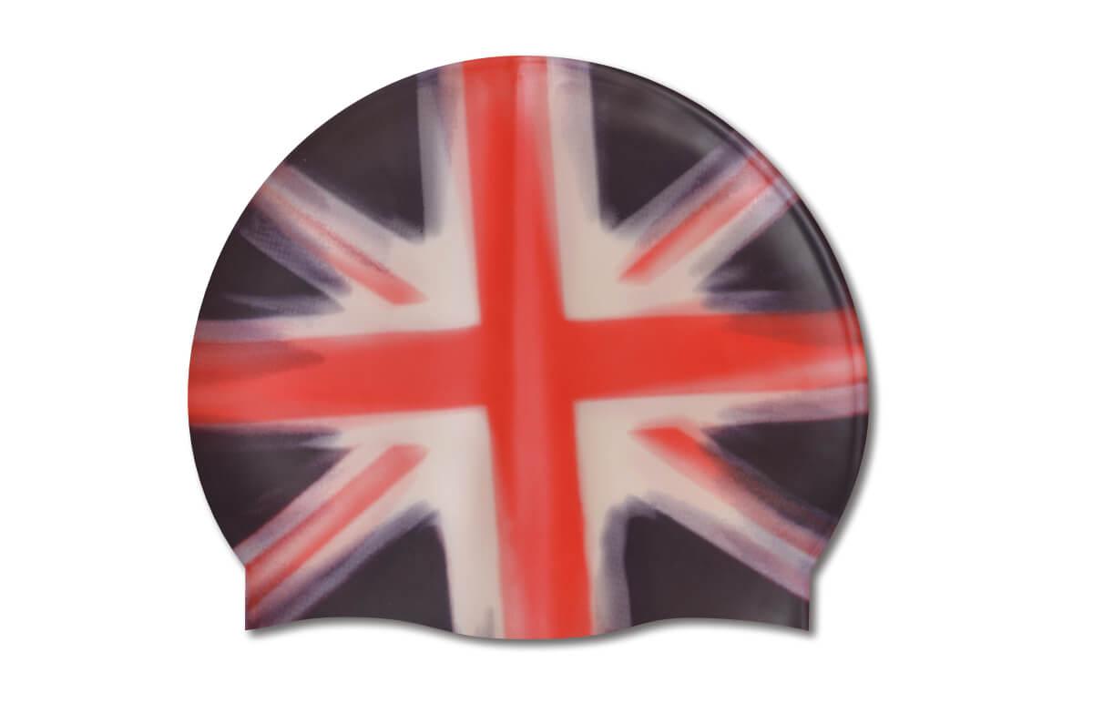 Full Uk Flag Silicone Swim Cap Podium Swimwear