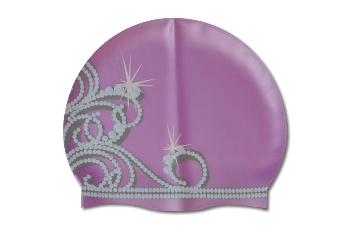 Purple Tiara Silicone Swim Cap Podium Swimwear